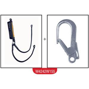 Podwójna linka bezpieczeństwa z amortyzatorem i hakami kotwiczącymi