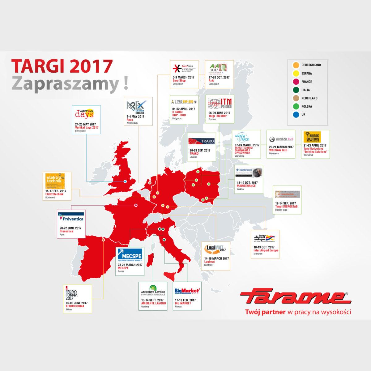 Mapa targów firmy Faraone w 2017 roku